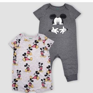 2pk Disney Mickey Mouse Short Sleeve Rompers